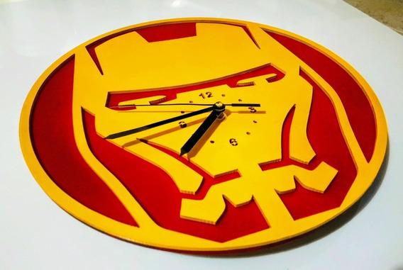 Reloj De Pared Corte Laser Mdf Ironman Y Spiderman