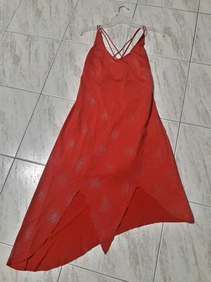 Vestido Solero De Color Rojo Con Briillitos Plateados