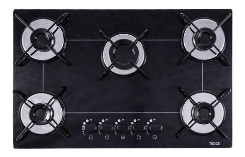 Fogão cooktop a gás Tedge TG164075 preto e prateado 110V/220V