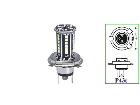 Lampada Led H4 12v 24v 10w P43t Barra 6500k