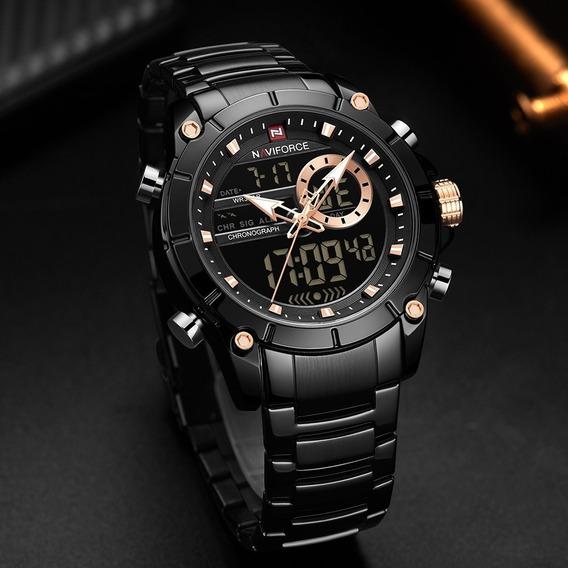 Relógio Masculino Naviforce Preto Original Lançamento 2019