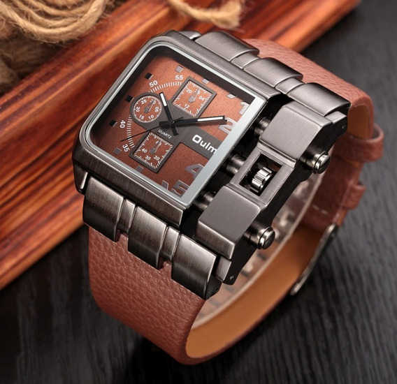 Relógio Oulm Masculino Rustico Couro Marrom Original Aço Ino