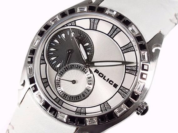 Relógio Feminino Pulseira Fundo Branco Couro Cristal Police