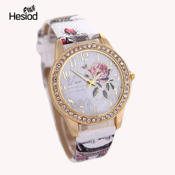 Relógio Feminino Hesiod Luxo Pulseira Em Couro