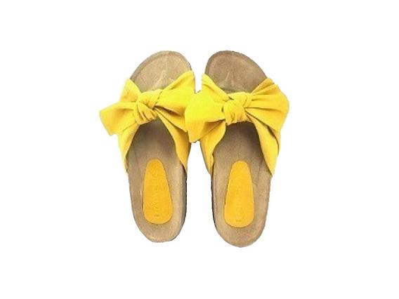 Zapato Mujer Sandalia Chata Moño Mostaza #2223