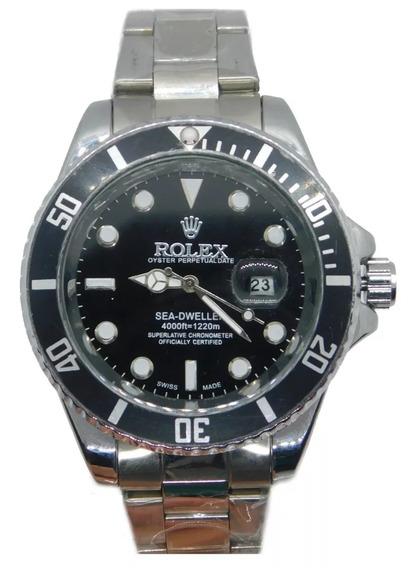 Relógio Masculino Submariner Luxo C/calendário Prata Preto