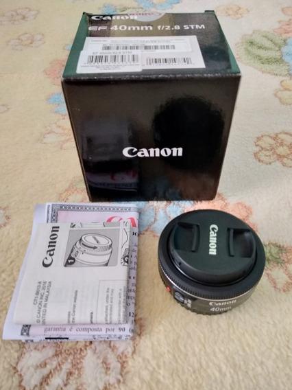 Lente Canon Ef 40 Mm F/2.8 Stm Com Pouco Uso, Na Caixa.