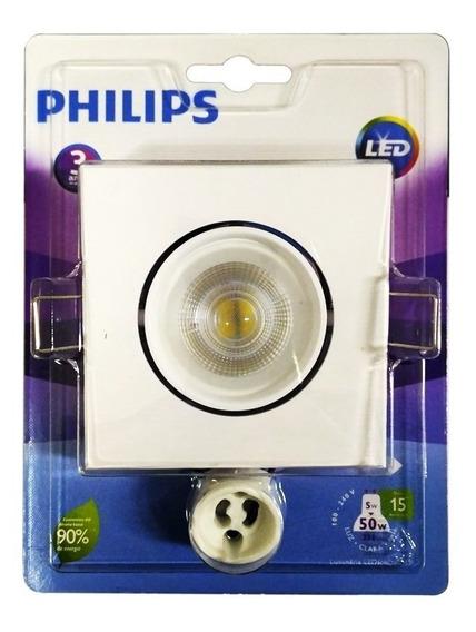 2 Un Spot De Led Quadrado 5w 2700k Luz Amarela Suave Philips
