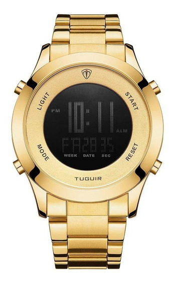 Relógio Masculino Tuguir Digital Dourado Top +caixa