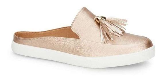 Zapato Dama Confort Tipo Clog, Superfiicie Lisa Con Borlas