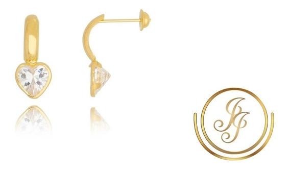 Brinco De Ouro 18kl Meia Argola Com Coração De Zircônia