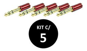 Kit Com 5 Plug Adaptador Santo Angelo P2 / P10 Niquelado