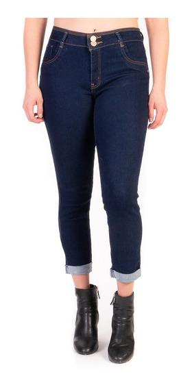 Jeans Stretch Mujer Azul Oscuro Cintura Alta Dobladillo High