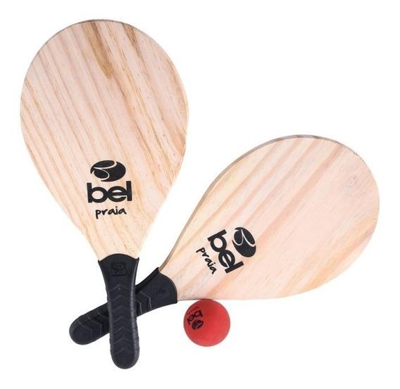 Kit Frescobol Tênis De Praia Com 2 Raquetes Bola E Bolsa