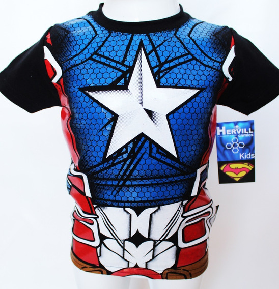 Playera Niño Capitan America Superhéroes Disfraz