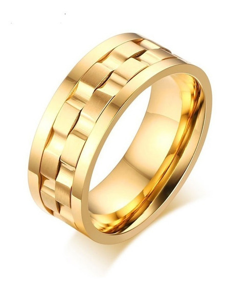 Anel Aliança Rotativo De Ao Inoxidável Prata Ou Dourado