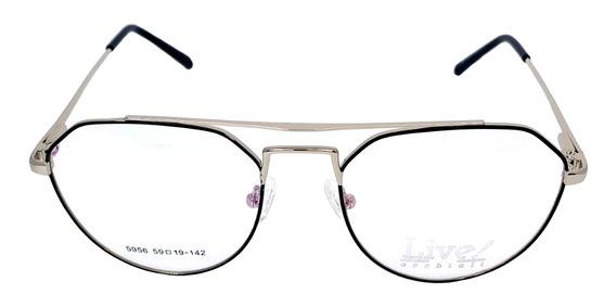 Óculos De Grau Antígua Preto/prata