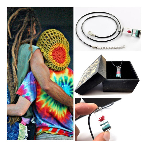Colar Hippie,vidro,mini Flor,c/caixa,leve, Artesanal,natural