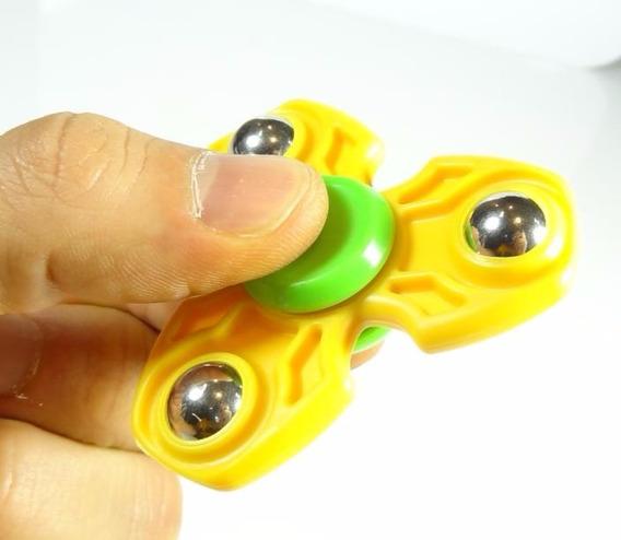 Fidget Hand Spinner Amarelo Verde Com Pino Para Pião Fs12