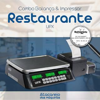 Combo Para Restaurantes A Kilo Balança E Impressor Upx Imprime Comanda Personalizada Com Valor A Pagar, Cod Barras Logo