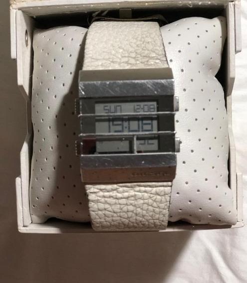 Relógio Original Quadrado Diesel C/ Pulseira Em Couro Branco