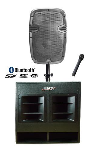 Sonido Amplificado Bajo De 18 Bocina De 15 Stan Y Microfono
