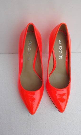 Zapatos Altos Aldo Coral Cuero Natural Talla 37 Nuevos.