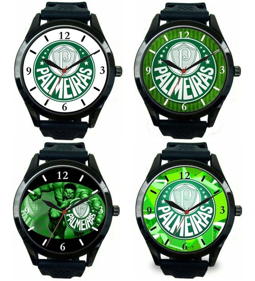 Kit 4 Relógios Pulso Palmeiras Barato Esportivo Masculino