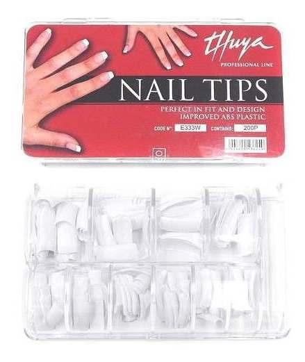 Thuya Nail Tips Blancos Uñas Esculpidas Caja 200 Cod. E33w