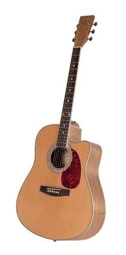Guitarra Acustica Parquer Vintage Natural Con Corte Y Funda