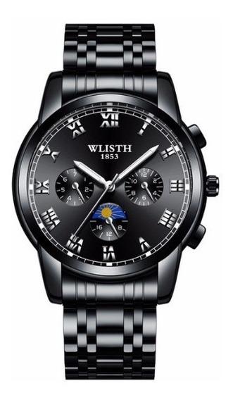 Relógio Wlisth Luxo Masc Pulseira De Quartzo À Prova D