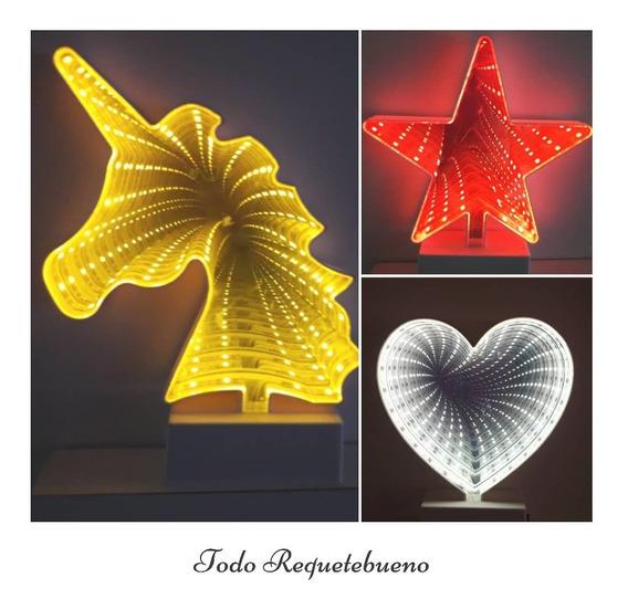 Espejo 3d Infinito Led Figura Decoracion Iluminacion Diseño