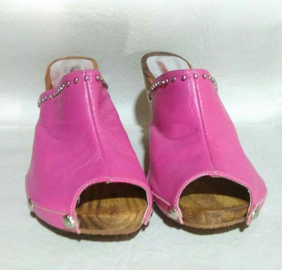 Par De Zapatos De Mujer (cuero) Talle 37 (fucsia)