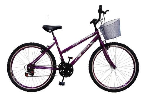 Imagem 1 de 2 de Bike Feminina Aro 26 18 Marchas Com Cesta