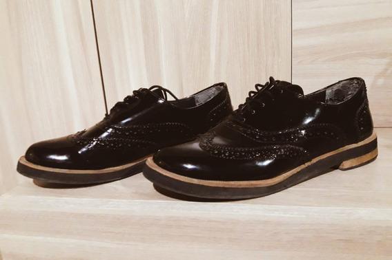 Zapatos Charol Acordonados Negro Talle 37 Suelagoma Poco Uso