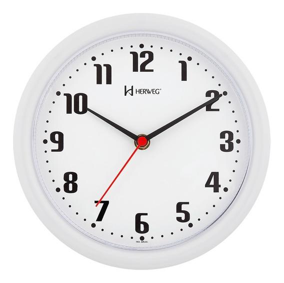 6102 Relógio De Parede 22 Cm Branco Herweg