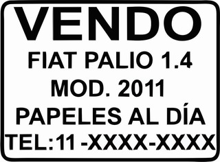 Cartel Calco Para Vender Auto X2 Unidades Oferta!!!