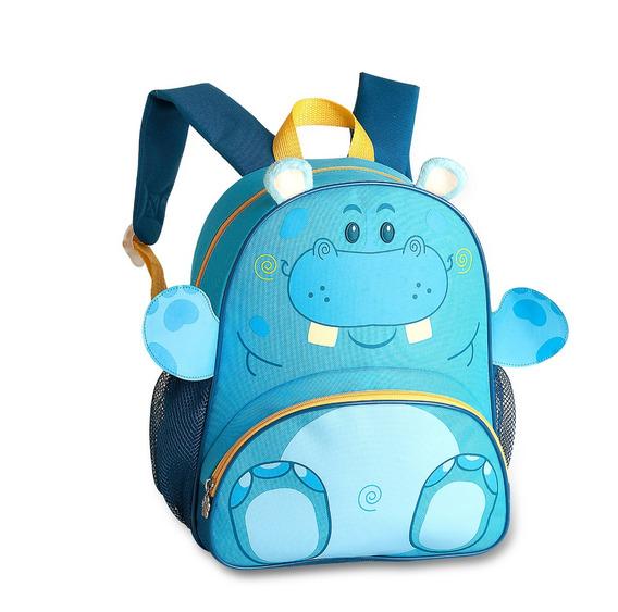Mochila Infantil Escolar Azul Clio Pets Hipopótamo 9237h