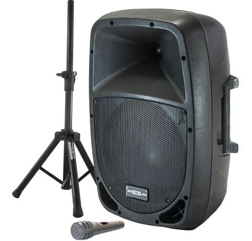 Cabina Activa 10'' Maxlin, Usb, Fm, Bt, + Base + Micrófono