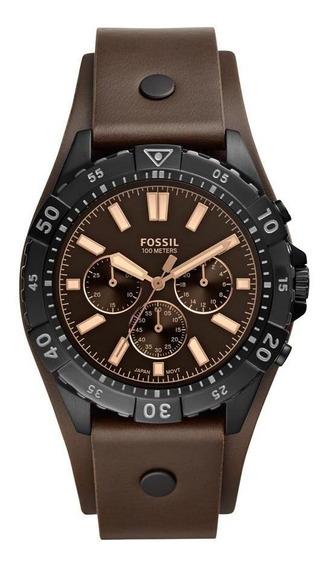 Relógio Masculino Fossil Garret Fs5626/0pn 44mm Couro Marrom