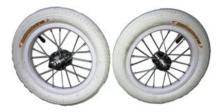 Ruedas Bicicleta Rodado 12 Importadas Camara Cubierta Blanca