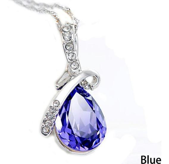 Colar De Cristal Azul Pingente De Gota A Pronta Entrega
