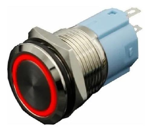 Imagen 1 de 5 de Interruptor Pulsador De Lujo Luz Rojo 16mm Metálico 110vac