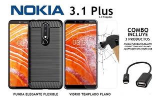 Funda Elegante + Templado Plano + Otg Nokia 3.1 Plus Rosario