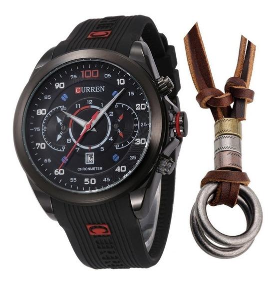 Relógio Masculino Curren Casual Esportivo + Colar Dois Anéis