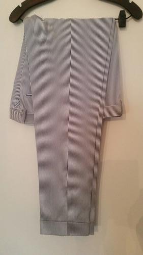Pantalon De Vestir Rayado, Talle 36 - Tela De Verano