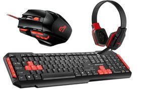 Kit Gamer Red Teclado Tc160 + Mouse Mo236 + Headphone Ph073