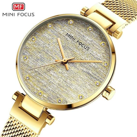 Relógio Feminino Minifocus 0263l Original Rose Dourado
