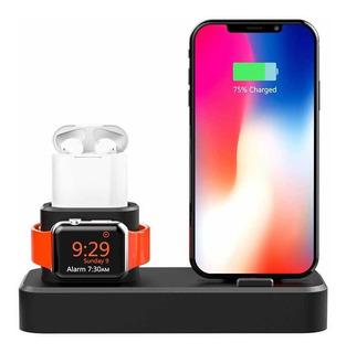 Base Estacion Carga 3en1 Apple Watch AirPods iPhone Silicona