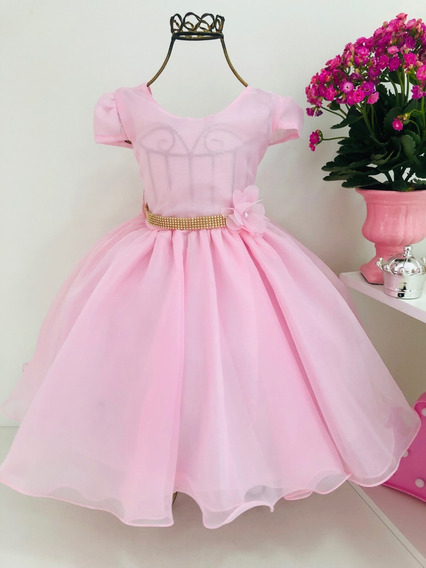Vestido Princesa Renda Infantil Rosa Casamento - Cod. 11502